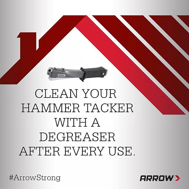 If you use a hammer tacker frequently for projects, you've probably experienced clogging at one point or another. One reason why that happens is that high temperatures can cause roofing underlayment to melt, which allows the tar paper and felt to be pulled into the staple exit. But have no fear! You can minimize clogging by cleaning your hammer tacker after each use and applying a degreaser like WD-40 or a thinner on the front of the tool and in the staple exit. What other questions do you have about your #hammertacker?