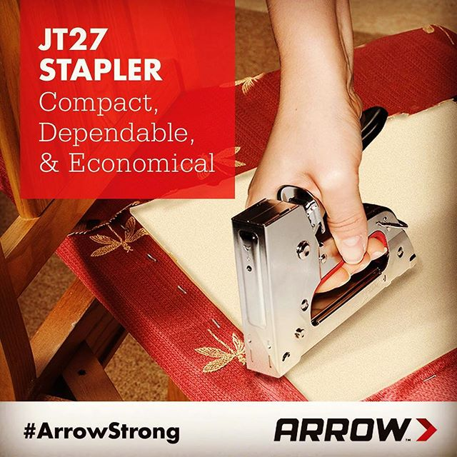 Our JT27 Stapler is a perfect choice for DIYers looking for a dependable yet economical staple gun. This tool offers a convenient bottom-load magazine with a pinch release to make reloading simple and hassle free. It also has a handle lock that secures against the tool frame for a compact, easy-to-store tool. The JT27 also provides a staple viewing window to see when staples are running low. Arrow's JT27 Stapler fires JT21 staples in 1/4-inch, 5/16-inch and 3/8-inch sizes.