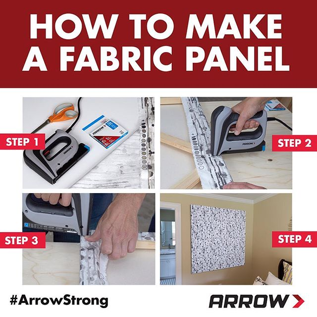 Introducing a quick and easy weekend DIY project! Make a fabric panel using an Arrow staple gun, non-stretch fabric and a frame. Tip: You can repurpose an old picture frame if you don't have an empty canvas frame. Click the link in our profile for the tutorial!
