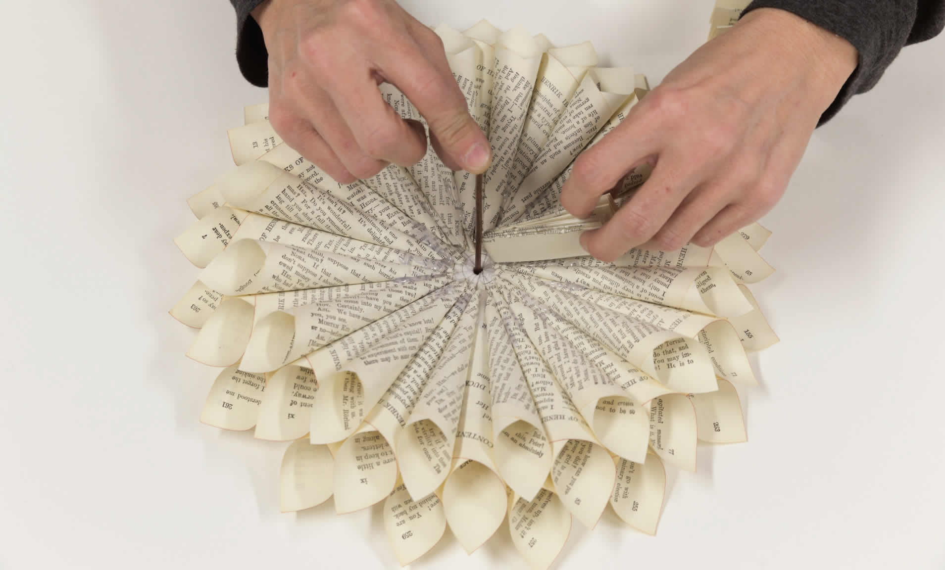 Make a book page wreath from an old book