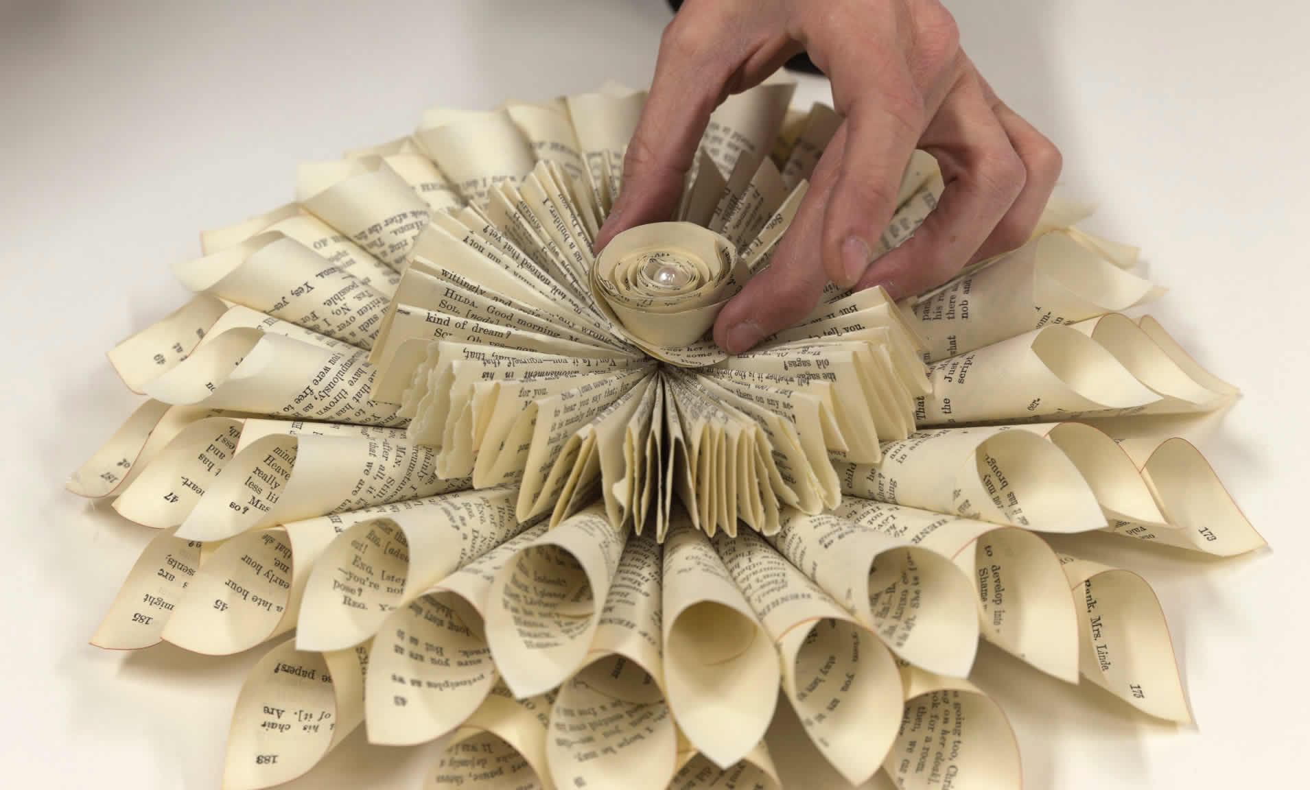Make a book page wreath in a few easy steps