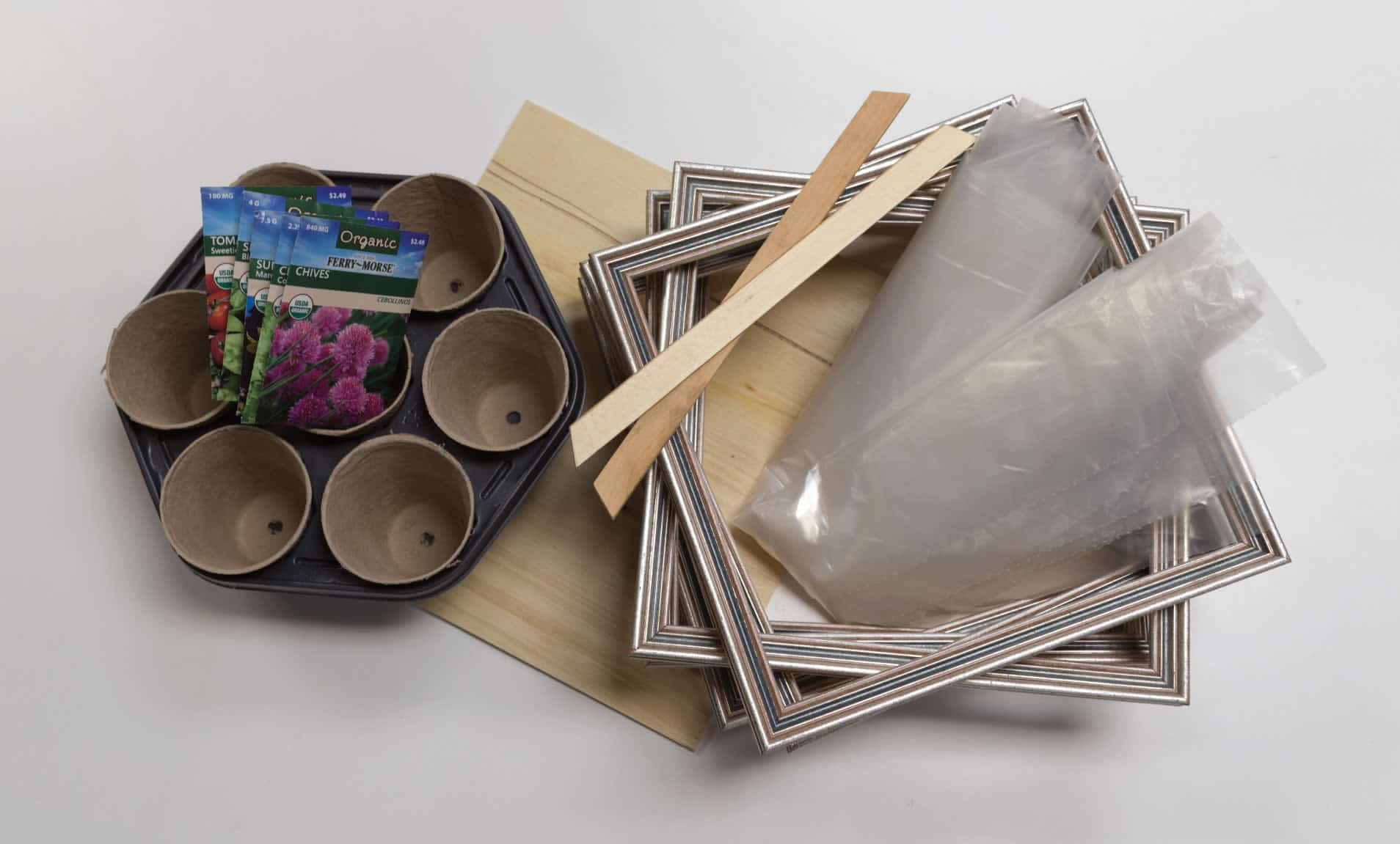 Picture of materials needed to create mini indoor greenhouse project