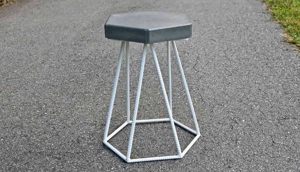 Concrete and Steel Outdoor End Table