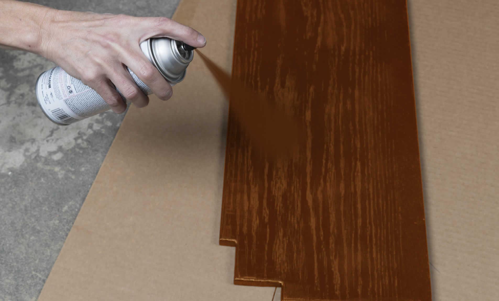 Spray painting wood