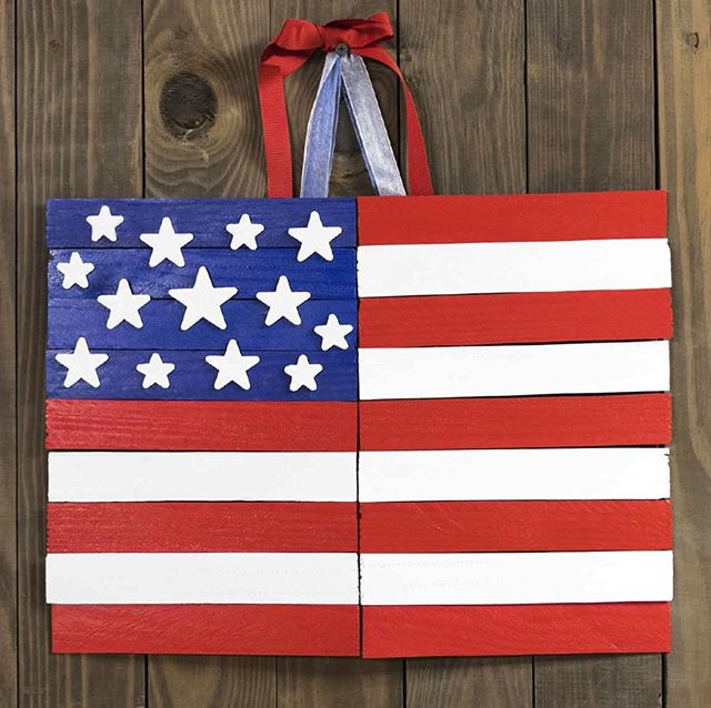 Go red, white and blue with this easy flag project made from wood shims! Link in bio ️ . . . . . . .